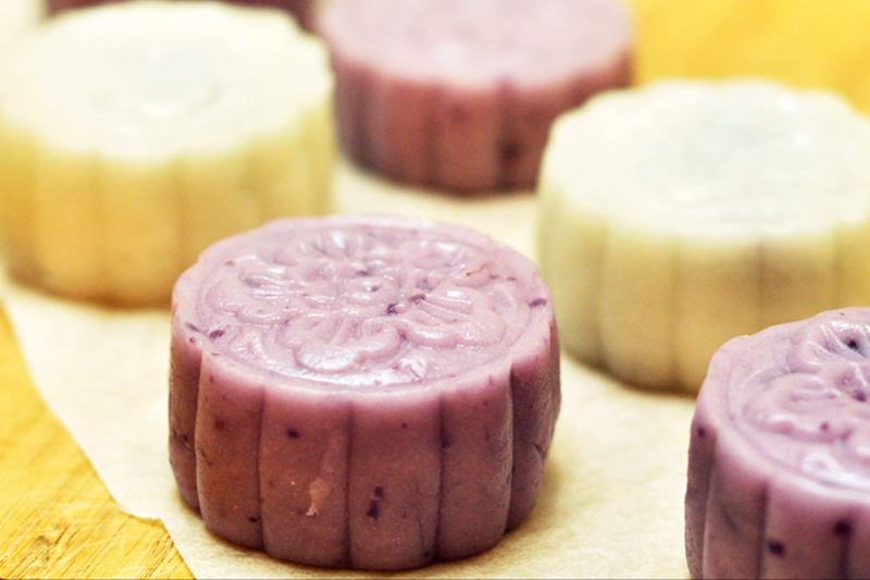 自製健康月餅食譜 50卡紫薯冰皮月餅