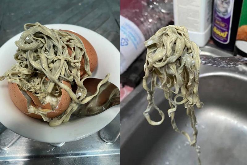 【食用安全】泰女剝開雞蛋驚見長麵條網上救助 專家估計疑細菌感染所致